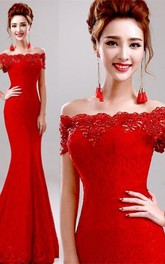 Sexy Red Off the Shoulder Mermaid Prom Dress With Lace Beadings