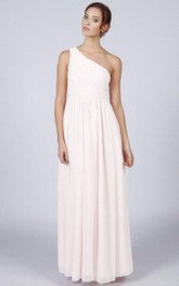 A-Line One-shoulder Ruched Long Dress