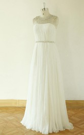 Strapless Long Chiffon Wedding Dress With Crystal Detailing And Pleats