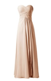Sweetheart Long Chiffon Dress With Crisscross Ruching