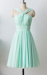 Mint Short Chiffon Halter Formal Dress