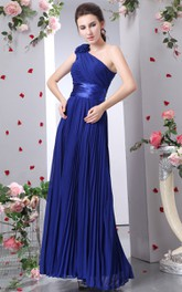 Chiffon Pleated Maxi Dress With Allover Ruching And Flower