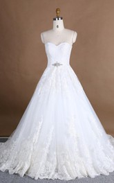 A-Line Sweetheart Tulle Lace Satin Dress With Beading Appliques Flower Broach