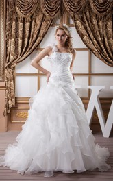 Sleeveless Side-Ruched Ball Gown with Beading and Ruffles