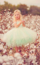 Off-the-shoulder Vintage Mint And Ivory Flower Girl Tutu Tulle Dress