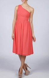 Coral One-shoulder Short Bridesmaid Dress