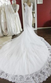 Luxury V-Neck Mermaid Beaded Wedding Dress With Cathedral Train