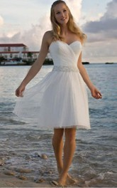 Angelic Crisscross Ruched Bodice Short Dress With Beaded Waist