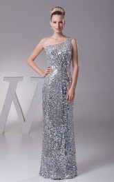 One-Shoulder Sheath Floor-Length Dress with Sequins
