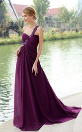 Ethereal Chiffon Backless Maxi Dress With Floral Strap