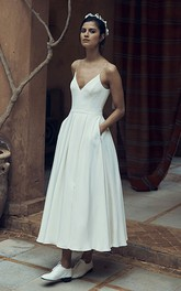 Simple Chiffon Spaghetti Deep-V Back Bridal Gown with Pocket