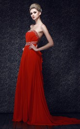 Flamboyant Strapless Chiffon Maxi Dress With Pleats and Beading