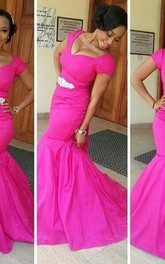 Glamorous Fuchsia Cap Sleeve Mermaid Evening Dress