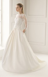 Illusion Neck and Back Dropped-Waistline Sation Gown With Lacy Bodice