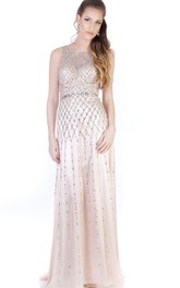 Beaded Bateau-Neck Sleeveless Long Evening Dress