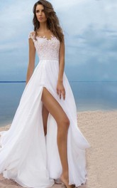 Sexy Beach Style Chiffon A-line Scoop-neck Cap-sleeve Slit Front Dress
