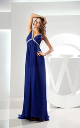 Plunged Empire Chiffon Dress with Beading and Pleats