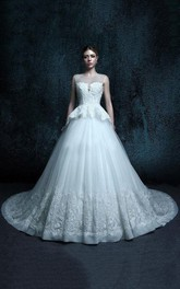 A-Line Scoop Tulle Dress With Beading