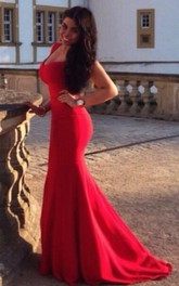 Sexy Cap Sleeve Mermaid Red Prom Dress Open Back