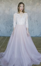 3/4 Sleeve Lace Tulle Wedding Gown With V-neck
