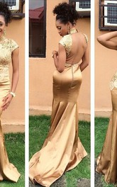 Hot Sale Golden High Neck Evening Dress 2018 Lace Appliques