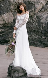 Boho Simple Lace Tulle Off-the-shoulder A Line Long Sleeve Wedding Dress