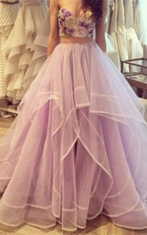 Beautiful Flowers Sweetheart Tulle Prom Dress Two Pieces