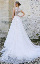 Jewel-Neck Sleeveless A-Line Tulle Pleated Dress With Appliques And Illusion