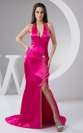 Satin Plunged Front-Split Gown with Broach and Beading