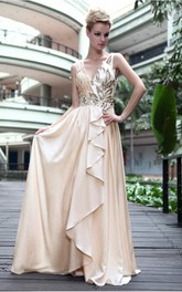 Amazing Ivory Sheath Floor-length V-neck Dress