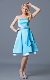 Strapless Pleated A-line Satin Dress With Layer