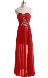 Sweetheart Basque Waist Dress With Crystal Embellishments