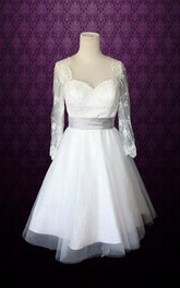 Queen Anne Illusion Sleeve Tulle Wedding Dress With Sash And Illusion Back
