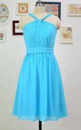 A-line Short Knee-length Halter Chiffon Dress