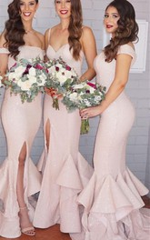Sexy Mermaid Ruffles Front Split Bridesmaid Dress 2018 Off-the-shoulder
