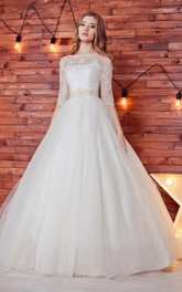 Bateau Lace Half Sleeve Tulle A-Line Ball Gown Wedding Dress With Beading