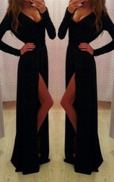 Sexy Black Long Sleeve V-Neck Prom Dresses 2018 Front Split Long