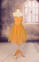 Short Sweetheart Tulle Dress With Beading And Tiers