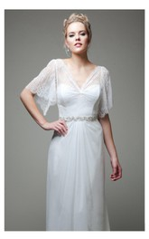 Boho Wedding Gown Soft Lace Bodice With Chiffon Skirt