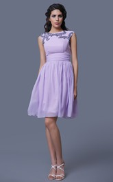 Short A-Line Sleeveless Chiffon Dress With Beadwork and Jewel Neck