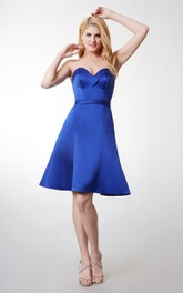 Fabulous Sleeveless Short Satin Dress With Pleats