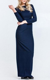 Long Sleeve Sheath Long Jersey Dress