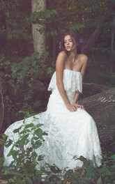 Off-Shoulder Long Sheath Lace Boho Wedding Dress With Ruffles