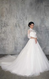 Ball Gown Long High-Neck 3-4-Sleeve Illusion Tulle Dress With Appliques