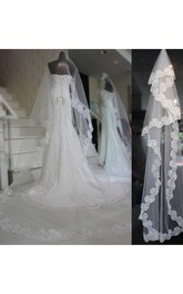 Lace Applique Tailing Long Veil