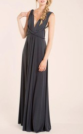 Maxi Sleeveless Sleeve Jersey&Satin Dress