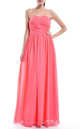 Floor-length Strapless Coral Chiffon Maternity Dress