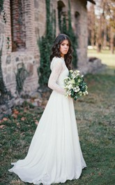 Ethereal Long Sleeve Lace Weddig Dress With Sweep/Brush Train