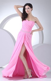 Sweetheart Ruched Front-Split Dress with Gemmed Waist