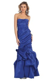 Strapless Dropped Trumpet Gown With Ruffles